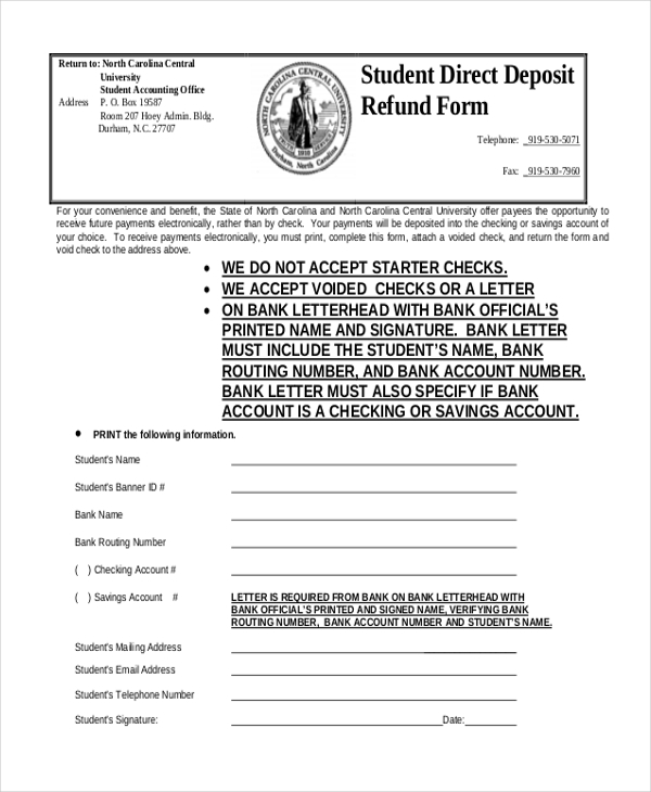 student direct deposit refund form