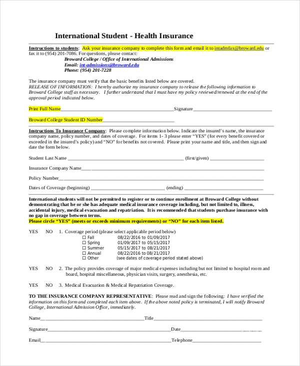 student health insurance coverage form