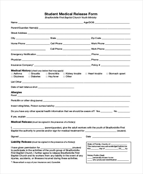 student medical release form
