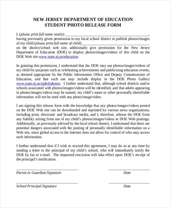student picture release form