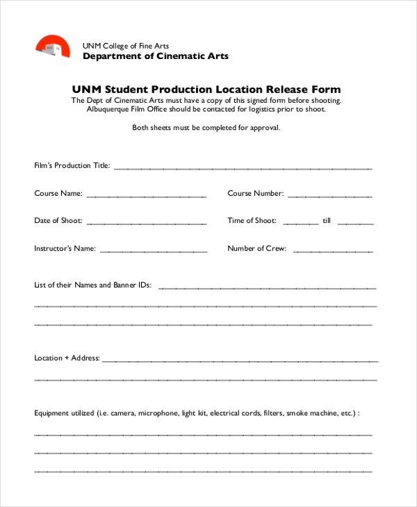 student production location release form