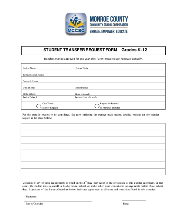 Sample Student Transfer Form   Free Documents In Pdf