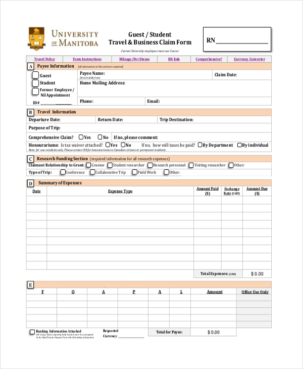 Sample Travel Claim Form - 10+ Free Documents In Pdf, Doc