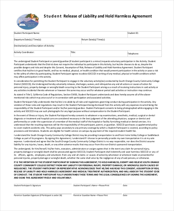 Sample Hold Harmless Agreement Form 12 Free Documents