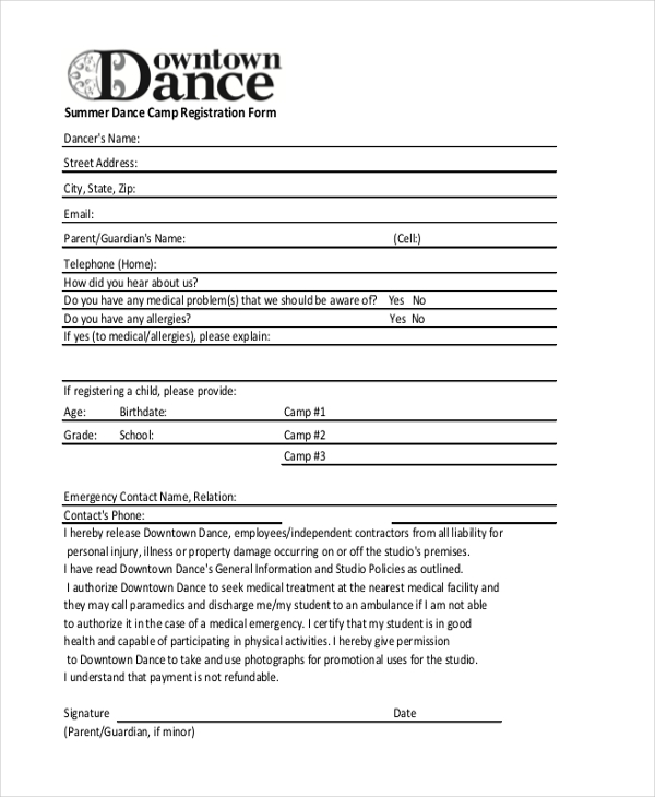 Sample Summer Camp Registration Form   Free Documents In Pdf