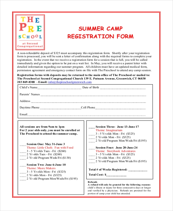 Sample Summer Camp Registration Form 10+ Free Documents In Pdf  Enrolment Form Template