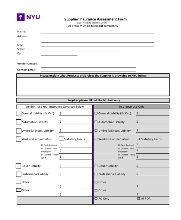 supplier insurance assessment form