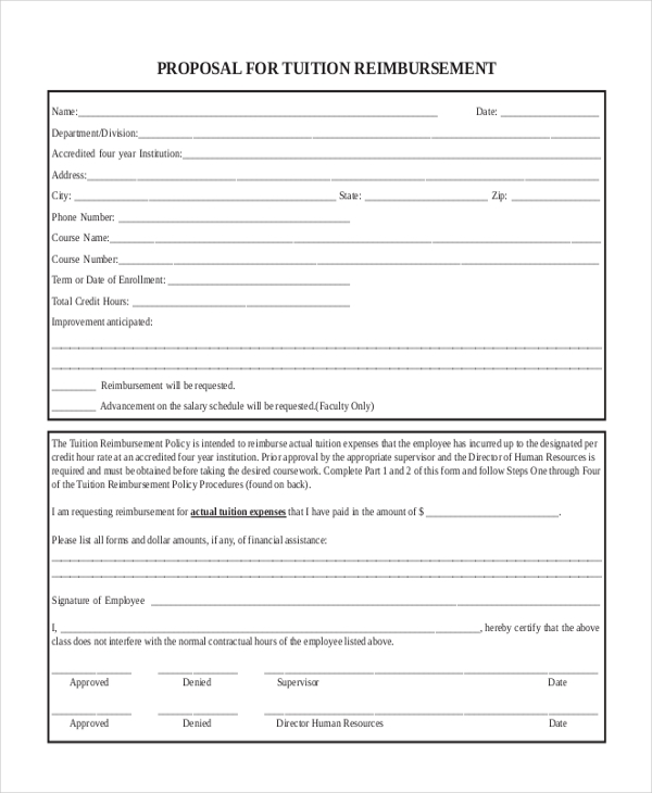 tuition reimbursement proposal form