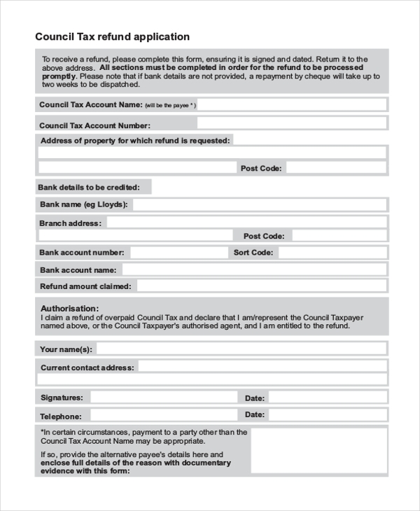 tax refund form