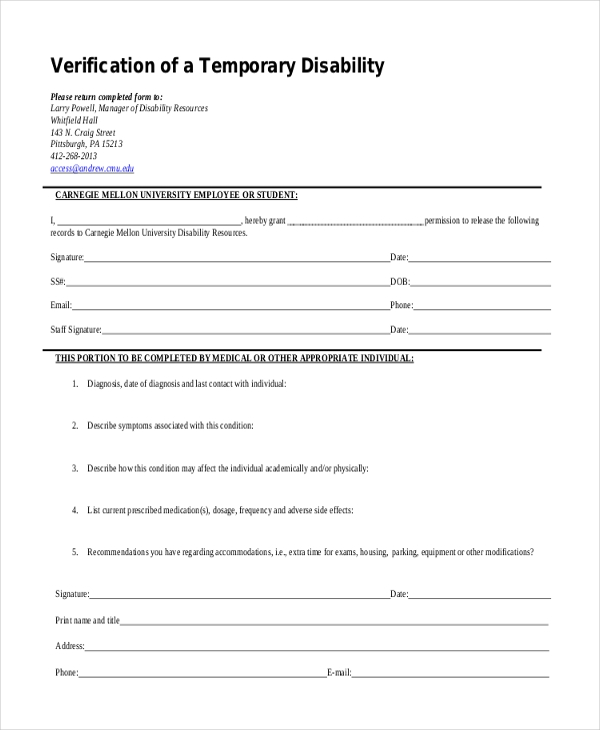 temporary disability form