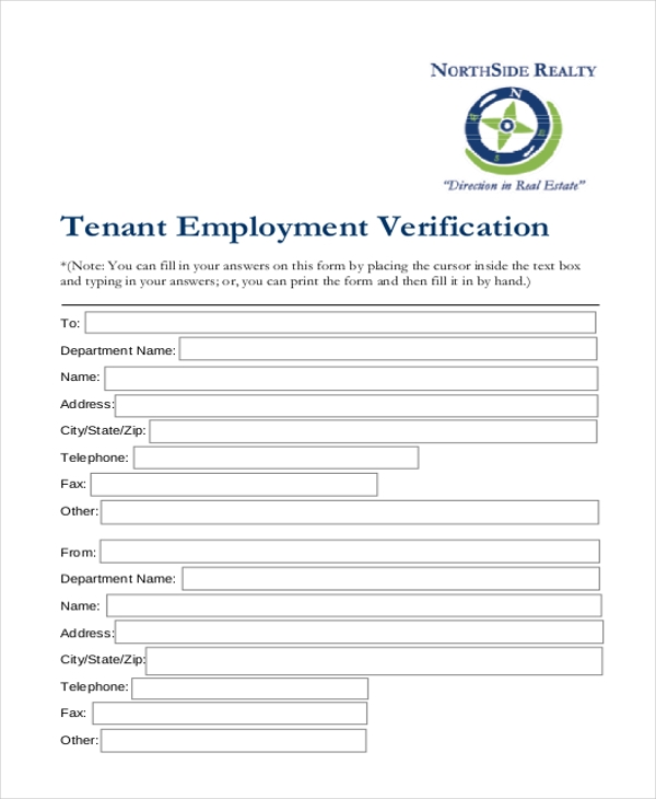 Sample Tenant Verification Form   Free Documents In Pdf