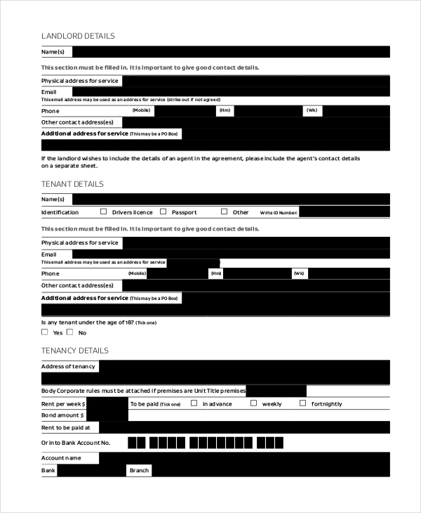 tenant lease form