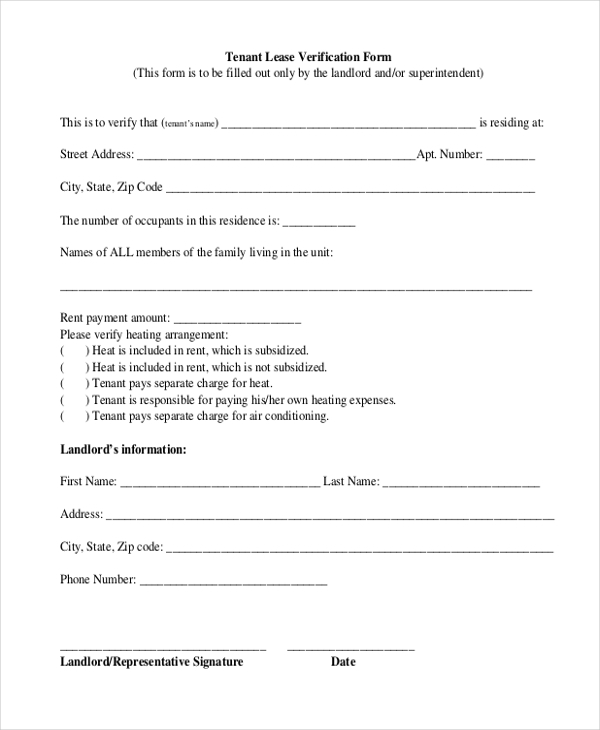 Sample Tenant Verification Form 8 Free Documents in PDF – Tenant Information Form