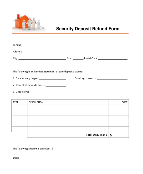 tenant security deposit refund form