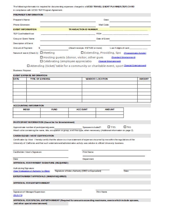 travel event planner form