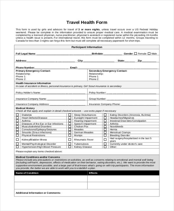 travel health form