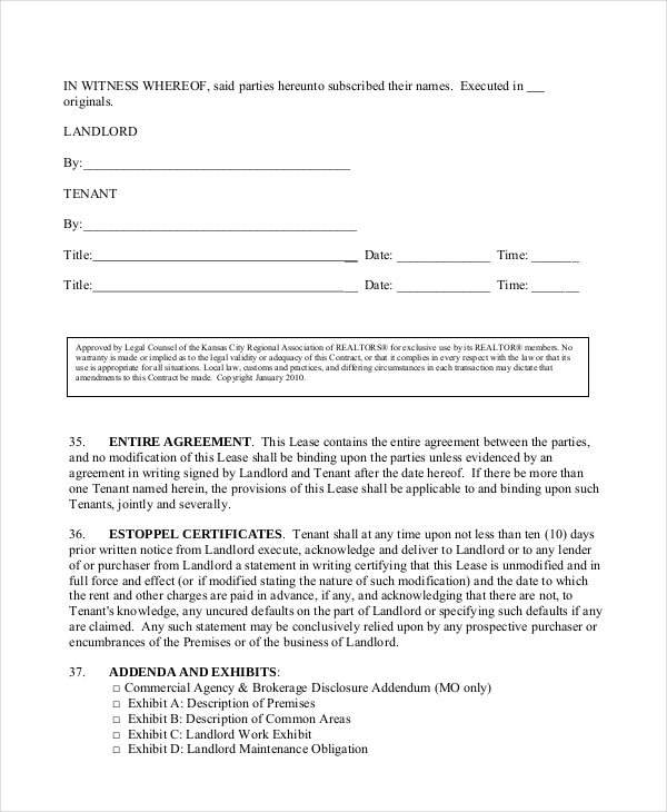 Sample Triple Net Lease Form 6 Free Documents in PDF – Tenant Lease Form