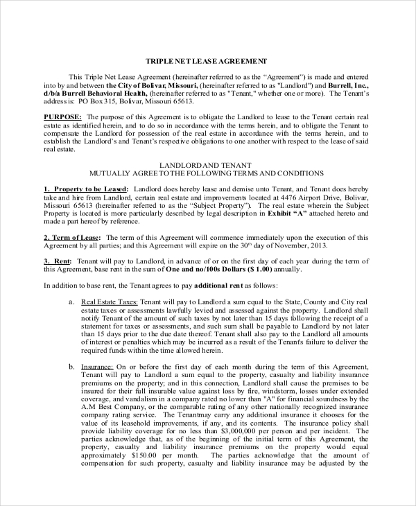 Sample Triple Net Lease Form   Free Documents In Pdf