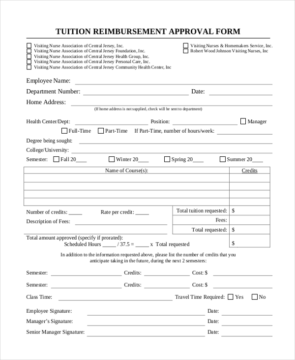 Tuition reimbursement application template 28 images for Tuition contract template