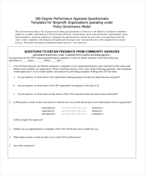 Sample Appraisal Form  Free Documents In Pdf Doc