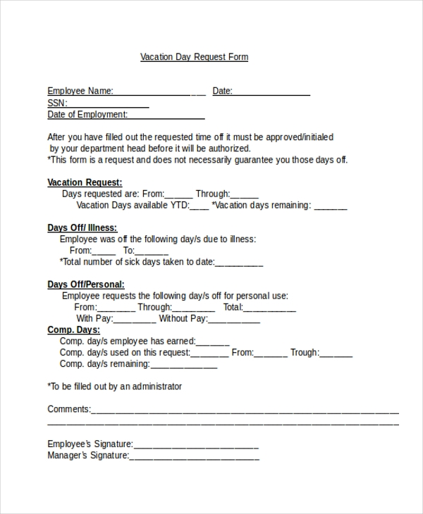 Request For Time Off Form  Funny Vacation Request Form