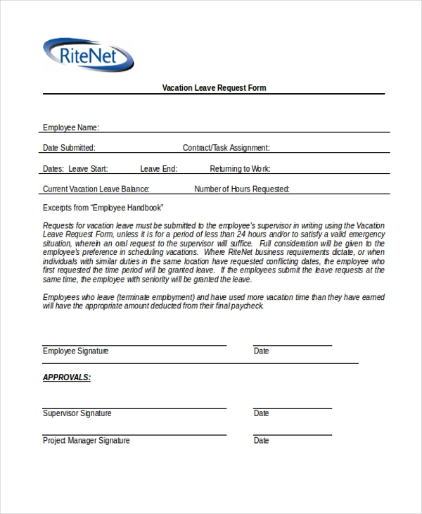 Sample vacation request form 9 free documents in word pdf sample vacation leave request form thecheapjerseys Image collections