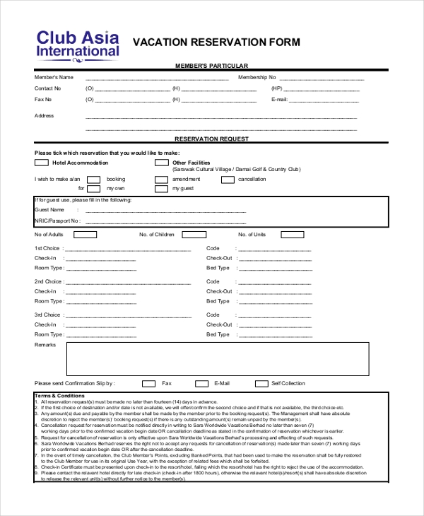 vacation reservation form