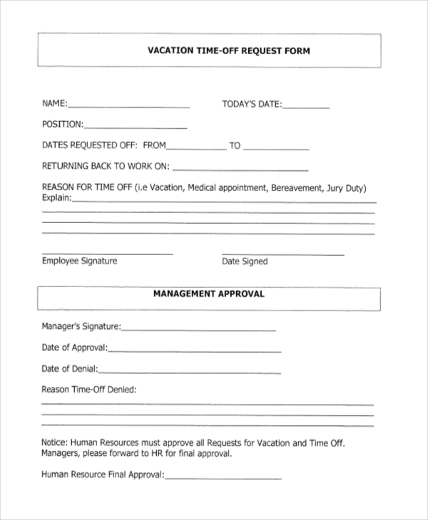 Sample Vacation Request Form   Free Documents In Word Pdf