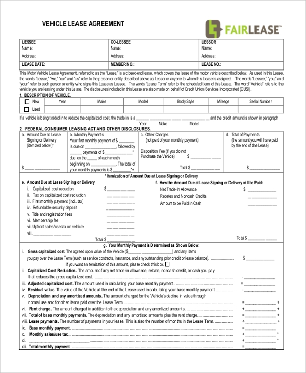 vehicle lease form