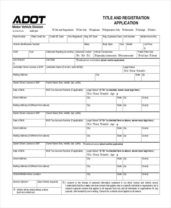 vehicle title and registration application form