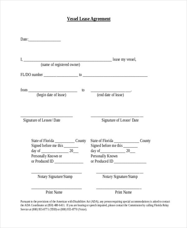 vessel lease agreement