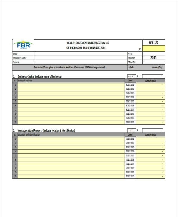 wealth statement form