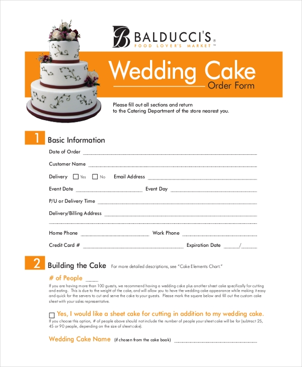 Wedding Cake Contract Forms 5000 Simple Wedding Cakes – Cake Order Forms