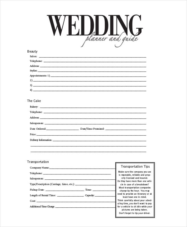 Sample Wedding Event Planner Form