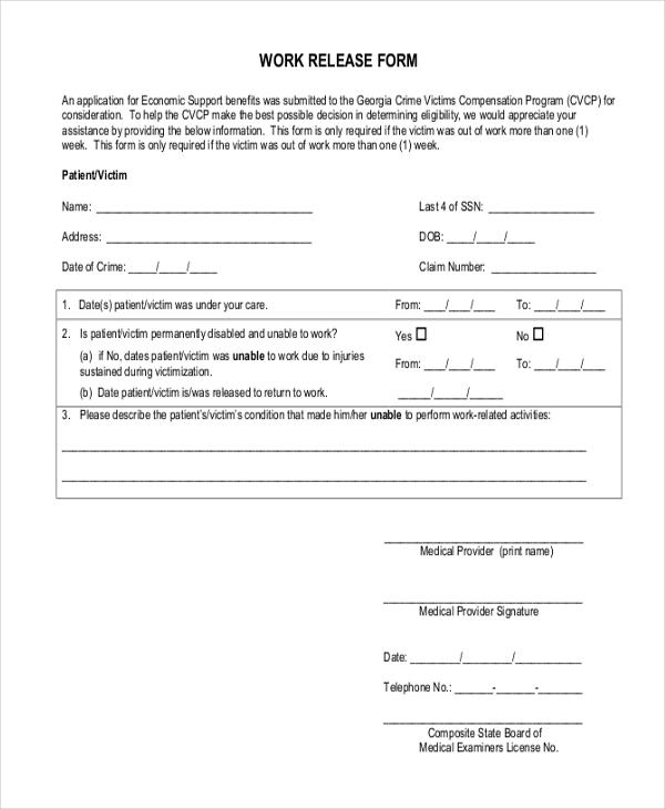 Sample Release Forms 22 Free Documents in Word PDF – Work Release Form