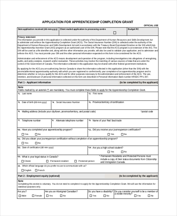 Application Form Sample Apprenticeship Grant Application Form