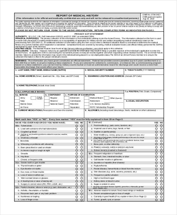 army medical examination form