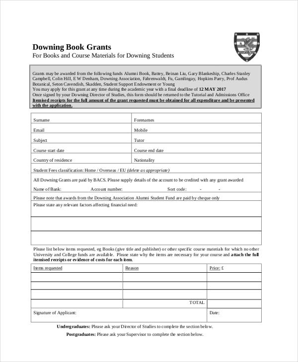 book grant application form