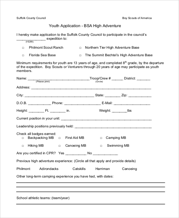 bsa high adventure health form
