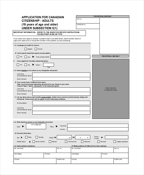 Sample citizenship application form 9 free documents in pdf for Documents for apply citizenship