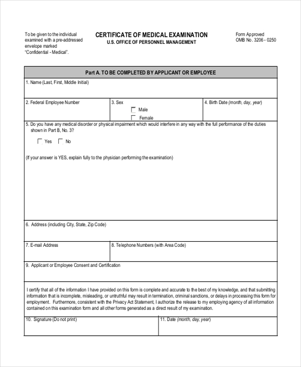 Sample Medical Examination Form - 10+ Free Documents In Pdf