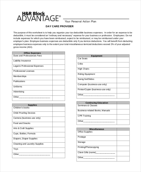 child care business expense form