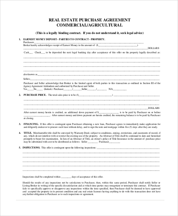 Sample Real Estate Offer Form   Free Documents In Pdf