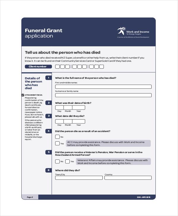 death grant application form