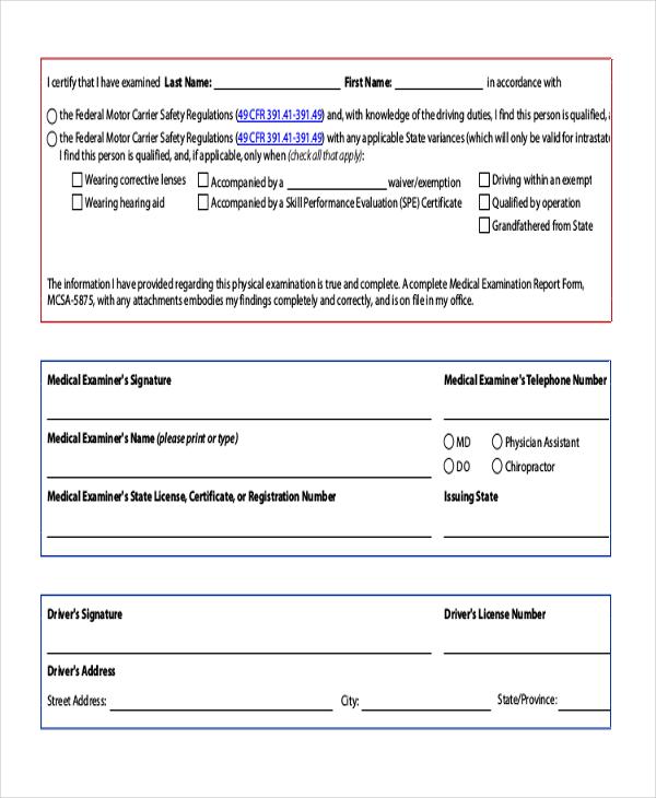 drivers medical examination form