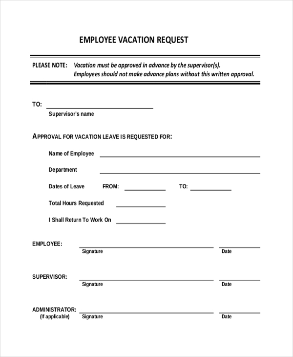 Sample Vacation Request Form   Free Documents In Word