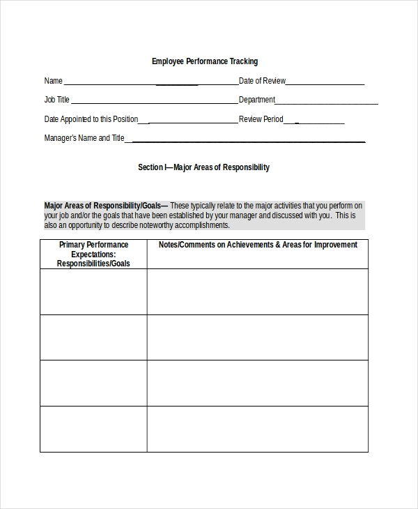 employee performance tracking form