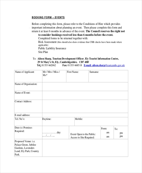 event planner booking form