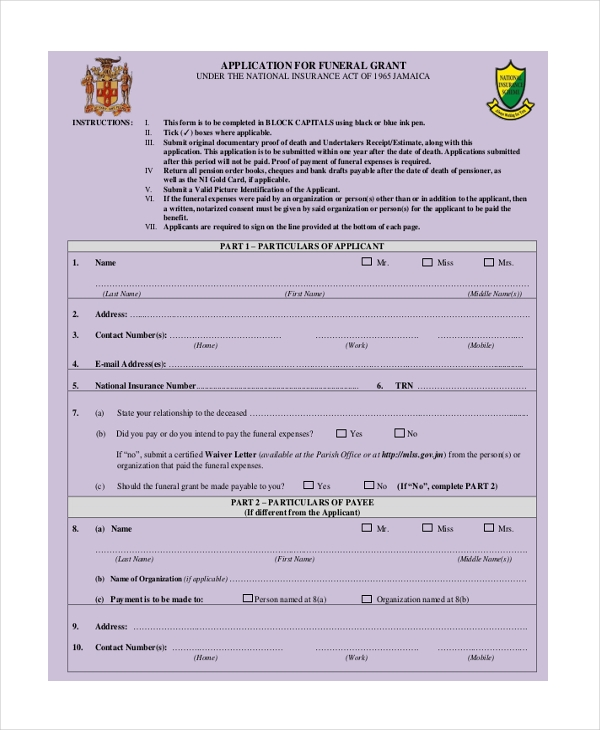 funeral grant application form