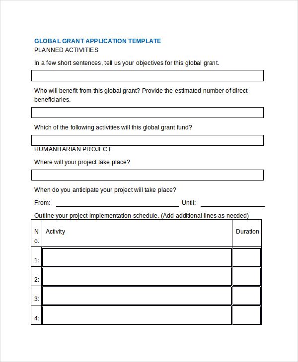 global grant application form